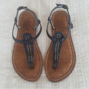 Cathy Jean Black Studded Flip Flop Sandals